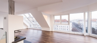Vorgartenstraße Exklusive Dachgeschosswohnung TOP 21 Wohnzimmer
